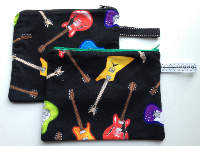 Lined Guitar Zipper Pouch or Snack Pack