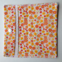 Orange flower Pouch or Snack Pack with Nylon Lining