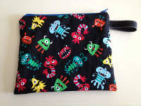 Lined Monster Zipper Pouch or Snack Pack