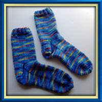 Dashing Rainbows Hand dyed Hand Knit socks