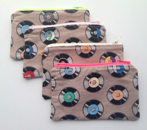 Lined Retro Records Zipper Pouch or Snack Pack