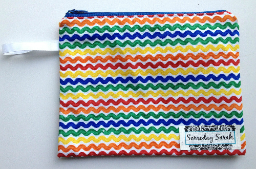 Lined Squiggly Rainbow Zipper Pouch or Snack Pack