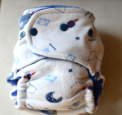 One Size Rocket Velour Fitted Cloth Diaper