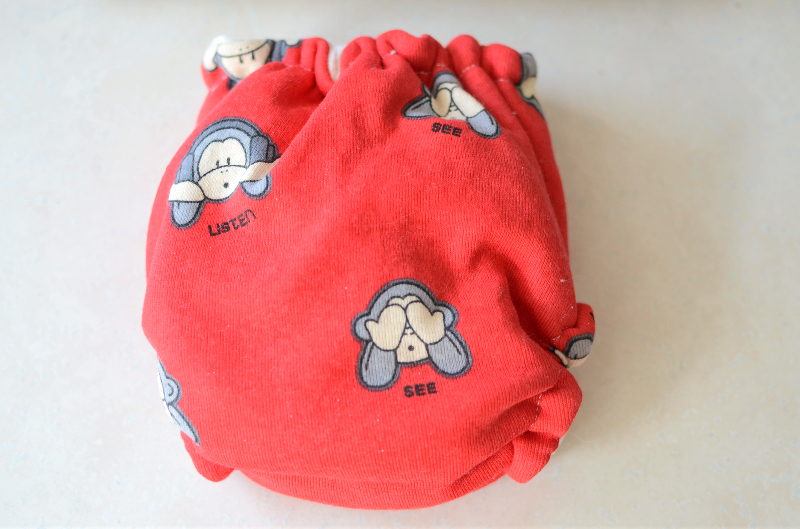 One Size Monkey Velour Fitted Cloth Diaper