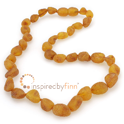 <u>Baltic Amber Necklace - Kids Unpolished Brown Bean - Teething, Health & Wellness</u>