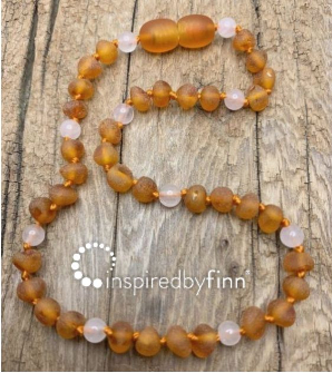 <u>NEW! Baltic Amber Necklace - Kids Unpolished Cider Rose Quartz - Teething, Health & Wellness</u>