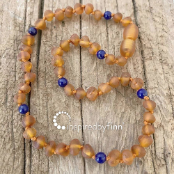 <u>Baltic Amber Necklace - Kids Unpolished Cider + Lapis Lazuli - Teething, Health & Wellness</u>