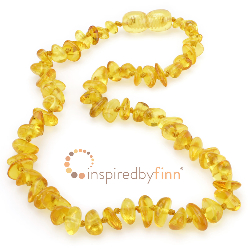 <u>Baltic Amber Necklace - Kids Polished Lemon Chips - Teething, Health & Wellness</u>