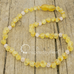 <u>Baltic Amber Necklace - Kids Unpolished Lemon Rose Quartz - Teething, Health & Wellness</