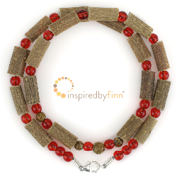 "<u> 	SALE! Discontinued - Kids & Adult Sizes 10.5 - 22"" Hazel Necklace Cherry & Wood</u>"
