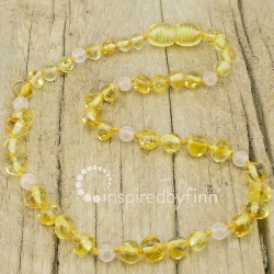 <u>Baltic Amber Necklace - Kids Polished Yellow Rose Quartz - Teething Health & Wellness</u>