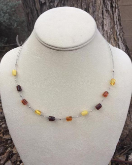 <u>CLEARANCE! - Polished Baltic Amber Necklace - Multi Barrel </u>