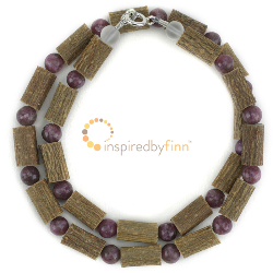 <u>Lepidolite Gemstone & Hazel Necklace - Soothing, Relaxing, Stress Relief</u>