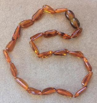 "<u>SALE! Kids Size 11.5-12.5""<br>Polished Honey Thin Bead Baltic Amber Necklace</u>"
