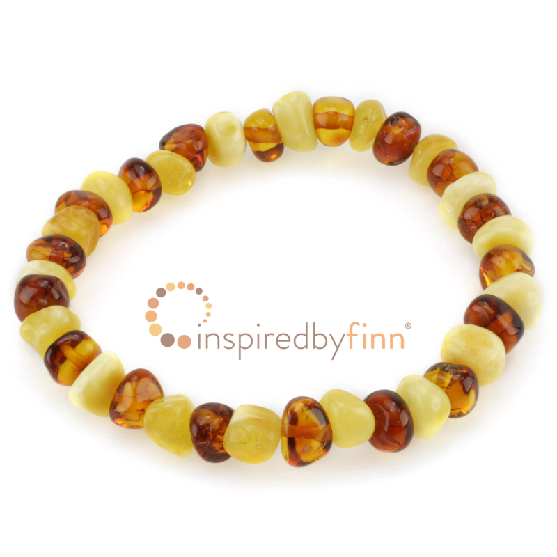 <u>Baltic Amber Elastic Bracelet - Polished Butter & Honey</u>