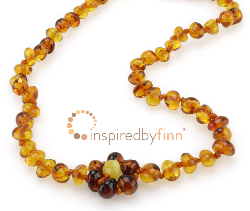<u>Baltic Amber Anklet - Adjustable<br></u>Polished Spring Flower