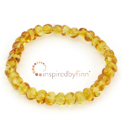 <u>Baltic Amber Elastic Bracelet - Polished Golden Swirl</u>