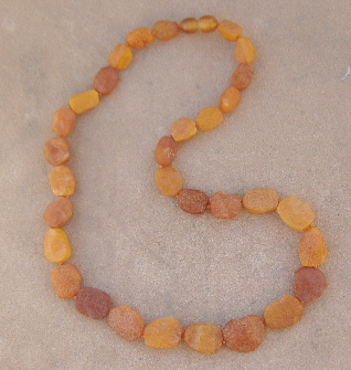 "<u>SALE!  Adult Sizes 17-18"" - Unpolished Amber Discs</u>"