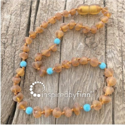 <u>Baltic Amber Necklace - Kids Unpolished Blue Cider - Teething, Health & Wellness</u>