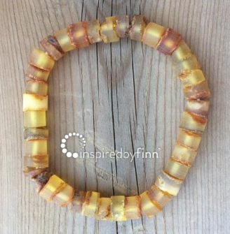 <u>NEW! Adult Baltic Amber Elastic Bracelet - Unpolished Rugged Cylinder</u>