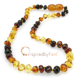 <u>Baltic Amber Necklace - Kids Polished Rainbow - Teething, Health & Wellness</u>