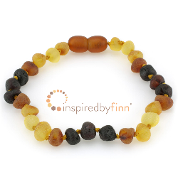 <u>Baltic Amber Clasped Bracelet - Unpolished Multi</u>