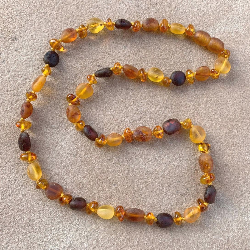 <u>New! One of a Kind - Unpolished & Polished Baltic Amber Adult Necklace</u> - No. 5