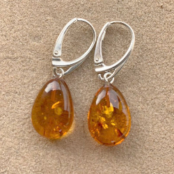 <u>New! Limited Quantity Baltic Amber & Sterling Silver Earrings - Polished Honey</u>