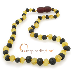 <u>Baltic Amber Necklace - Kids Unpolished 2 Different - Teething, Health & Wellness</u>