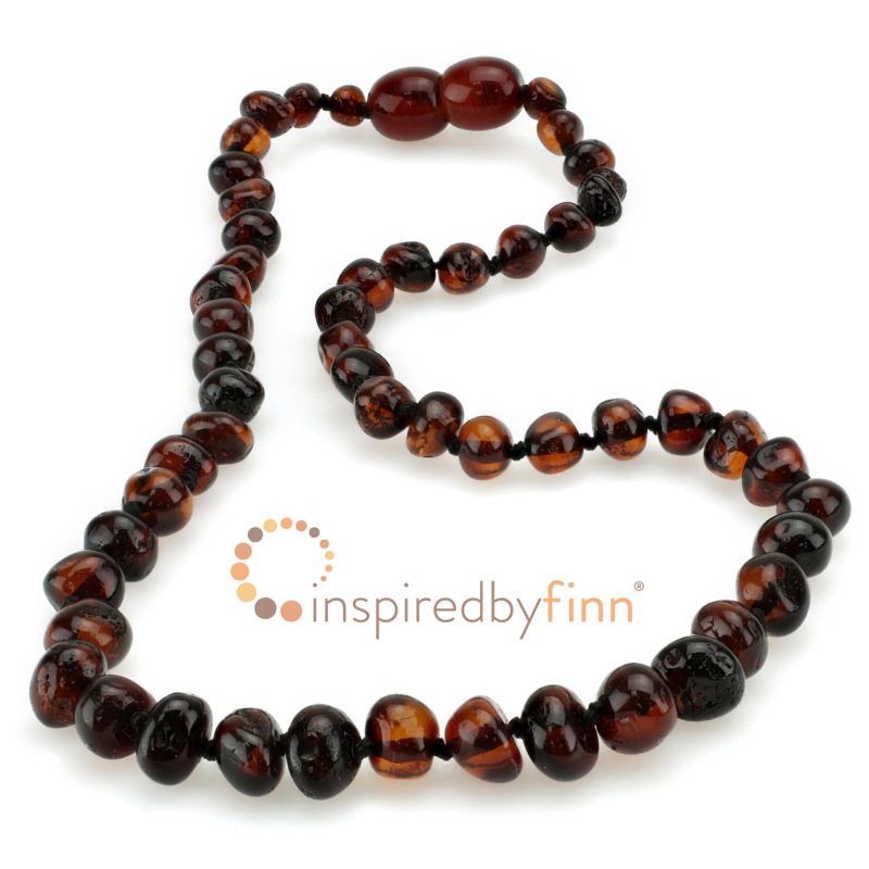 <u>Baltic Amber Necklace - Kids Polished Dark Cherry - Teething, Health & Wellness</u>