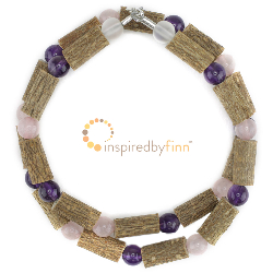 <u>Amethyst and Rose Quartz Gemstones & Hazel Necklace - Supports Nervous System & Brain</u>