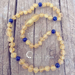 <u>Baltic Amber Necklace - Kids Unpolished Yellow + Lapis Lazuli - Teething, Health & Wellness</u>