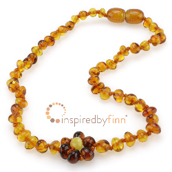 <u>Baltic Amber Necklace - Kids Polished Spring Flower - Teething, Health & Wellness</u>