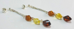 <u>New! Limited Quantity Baltic Amber & Sterling Silver Earrings - Polished Multi</u>