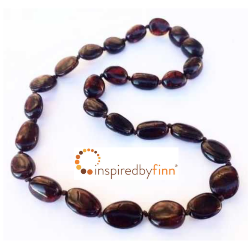 <u>Baltic Amber Necklace - Kids Polished Dark Cherry Bean - Teething Health & Wellness</u>
