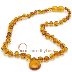 <u>Baltic Amber Necklace - Kids Polished Pendant Honey - Teething, Health & Wellness</u>