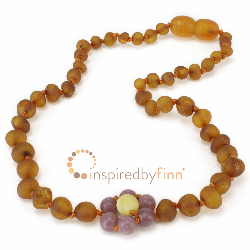 <u>Baltic Amber Necklace - Kids Unpolished Lepidolite Flower - Teething, Health & Wellness</u>