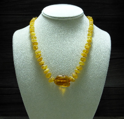 <u>Baltic Amber Necklace - Unpolished Amber with Polished Pendant</u><br>$34.47 w/ discount code: 25
