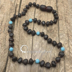 <u>Baltic Amber Necklace - Kids Unpolished Blue Molasses - Teething, Health & Wellness</u>