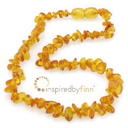 <u>Baltic Amber Necklace - Kids Polished Golden Swirl Chips - Teething, Health & Wellness</u