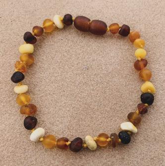 <u>SALE! Adult/Adolescent Clasped Baltic Amber Bracelet<br>Unpolished Diversity</u>
