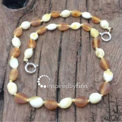 <u>NEW! Baltic Amber Anklet - Adjustable<br>Unpolished Light Mix</u>