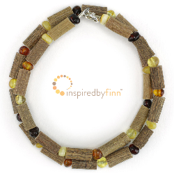 <u>Polished Baltic Amber & (Smaller) Hazel Necklace - 4 Different Colors</u>