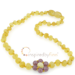 <u>Baltic Amber Necklace - Kids Unpolished Lemon Lepidolite Flower - Teething, Health & Wellness