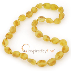 <u>Baltic Amber Necklace - Kids Unpolished Light Bean - Teething, Health & Wellness</u>