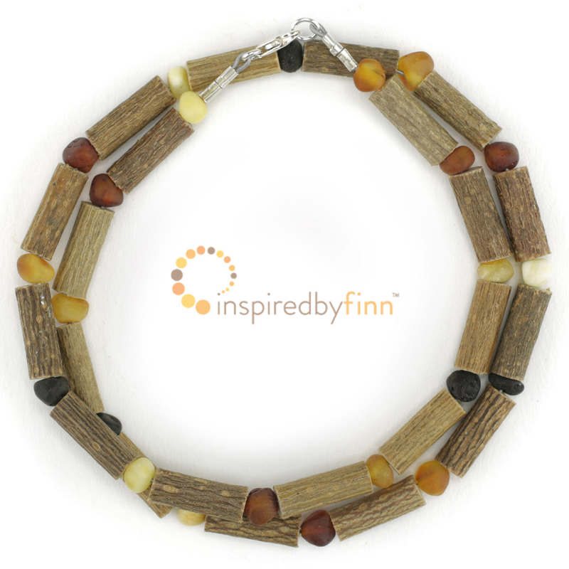 <u>Unpolished Baltic Amber & (Smaller) Hazel Necklace - Diversity</u>
