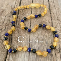 <u>NEW! Unpolished Harvest Baltic Amber + FOCUS & CONCENTRATION<br>Adult Necklace</u>