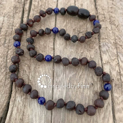 <u>Baltic Amber Necklace - Kids Unpolished Molasses + Lapis Lazuli - Teething, Health & Wellness</u>