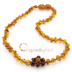 <u>CLEARANCE! Baltic Amber Necklace - Kids Polished Gingerbread Flower - Teething, Health & Wellness