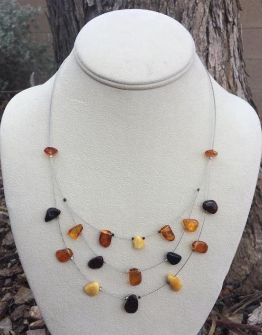 <u>CLEARANCE! Polished Baltic Amber Necklace - Tiered </u>
